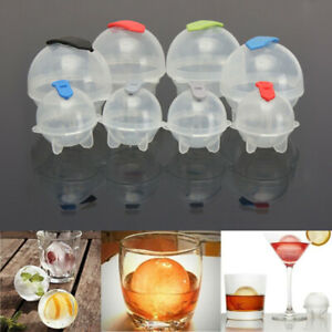 Round Ice Cube Ball Maker Sphere Molds For Whisky Party Cocktails 4x/Set