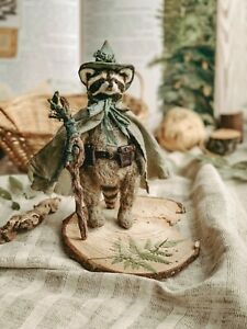 Teddy Handmade Toy Collectable Gift Animal Doll OOAK Raccoon Wizard Mage Druid