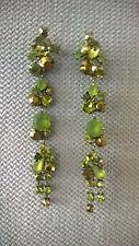 unique green long drop/dangle earrings Swarovski crystal Synthetic Bijoux Paris