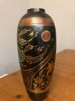 Vintage Solid Brass Hand Painted Vase - Made In India (I think) 9 ¼ tall