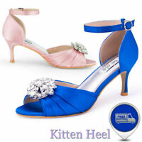 Women's Kitten Heel Ankle Strap Dress Sandals Peep Toes Pumps Prom Wedding Shoes