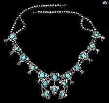 Vintage Native American Indian Sterling Silver Multi Turquoise Beads Necklace