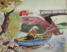 Vintage gouache painting landscape boat fisherman signed