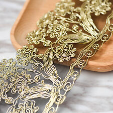 1 Yards Beautiful Metallic Gold Color Embroidery Venise Lace Wedding Trim