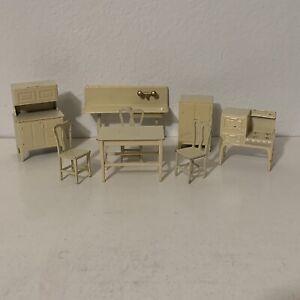 Lot 8 Vintage 1930s Tootsie Toy Dollhouse Kitchen Furniture Cream Off White 30s