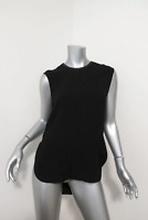 Helmut Lang Blouse Black Leather-Trim Textured Silk Size Small Sleeveless Top