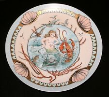 1890'S GERMAN, MERMAID & FRIENDS HAND PAINTED PLATE, EBBA CARISON, VERY RARE #3!