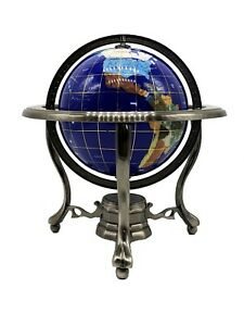 "10"" Tall Table Top Blue Lapis Ocean Gemstone World Globe with Silver Tripod Std"