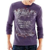 JEANS BY BUFFALO Purple Graphic Long Sleeve Thermal Shirt - Size Medium