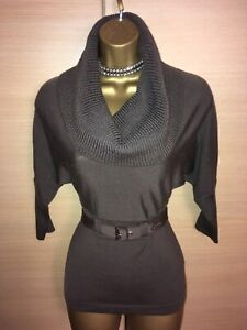 Exquisite Karen Millen Chocolate Cowl Neck Belted Jumper UK10 Stunning