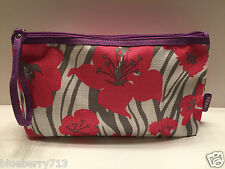 New! Clinique Flower Print Cosmetic Makeup Bag Zipper Pouch with Handle