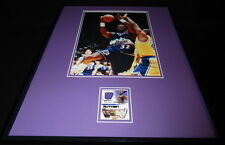 Karl Malone 16x20 Framed Game Used Jersey & Photo Display Jazz B