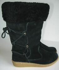 Ralph Lauren Girls Black Mason Suede Boots (2) NWOB