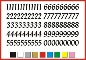 SELF ADHESIVE NUMBERS stickers 0 to 9 Penstyle 20mm OR 25mm high vinyl set