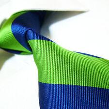 "Extra Long 100% Silk Tie Green/Blue Stripe XL Necktie SW2004 Woven Jacquard 63"""