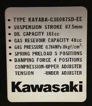 KAWASAKI ZR1100 ZR750 ZEPHYR REAR SHOCK ABSORBER CAUTION WARNING DECALS X 2