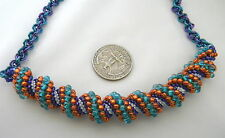 SALE Spiral Peyote Stitch Beadwork Seed Bead Cellini Jump Rings Necklace Multi