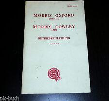 Instrucciones Servicio Manual Morris Oxford Serie III / Cowley 1500 , Stand 1956