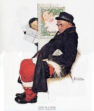 Norman Rockwell Christmas Print SANTA ON A TRAIN