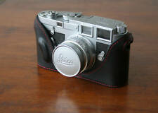 Zhou Black Half Case Red Stitch 4 Leica M3 w Buddha Lug