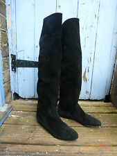 True Vintage UNWORN Black real Suede 1980s Knee High Boots with button detail