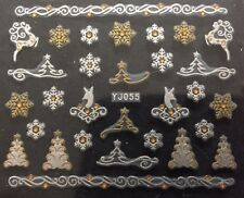 Accessoire ongles, nail art, Stickers noël : sapins et étoiles blanc et doré