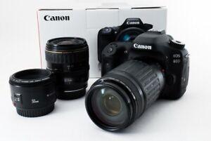 Canon EOS 80d 24.2MP 28-80/75-300/50mm Objektiv [ EXC W/8GB SD, Band [62]