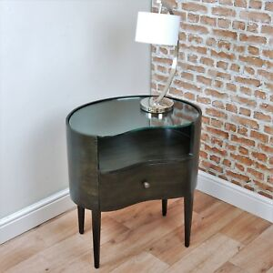 Contemporary Glass Top Dark Walnut Kidney Shaped Bedside Cupboard 20s Art Deco
