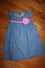 NWT Gymboree Fairy Tale Forest Size 4T Blue Chambray Pink Flower Dress