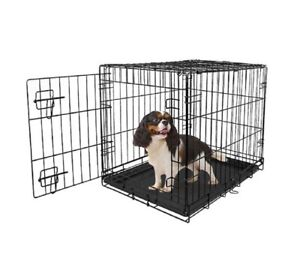 """Vibrant Life Single-Door Folding Dog Crate with Divider, 30"""""""