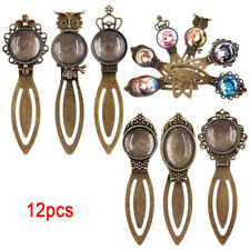 12Pcs 6 Styles Antique Bronze Bookmark Pendant Tray Glass Cabochon Crafts DIY LY