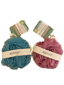 Ecotools EcoPouf 2 Pack Dual Cleansing Pad Loofah Exfoliation Shower Bath Scrub