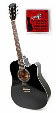 Bray 41 Inch Full Size 6 String Midnight Black Acoustic Guitar + Strings 10-48