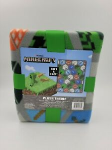 Minecraft Soft and cozy! ™ plush throw blanket 40in x 50in Gray/ Green New