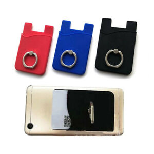 Silicone Cell Phone Pouch Case Credit ID Card Holder With Ring Stand Adhesive