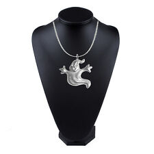 """Ghost GT335 Pewter On 18"""" Silver Plated Curb Necklace"""