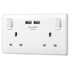 BG électrique double commutation rapide 13 A Chargeur Prise de courant avec deux ports USB 3.1 5