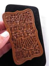 HAND CARVED ANTIQUE WOOD SERPENTINE SHAPE CHINESE EXPORT CALLING CARD CASE