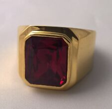 G-Filled 18ct yellow gold simulated Men's garnet ring Gents USA size 9 AUS S new