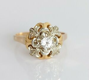 Beautiful 18ct Gold & White Sapphire Floral Solitaire Engagement Ring UK L/M