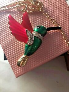 Betsey Johnson Necklace Pink Emerald Green Hummingbird  Gold Crystals Gift Box