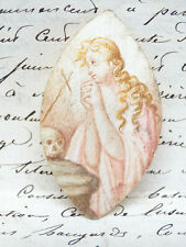 French Religious Miniature Portrait of Holy Mother Mary, Antique Watercolor