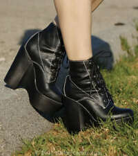 JEFFREY CAMPBELL TARDY BOOTS 7 Black Lace Up Ankle Booties Platform Boots Shoes
