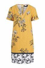 New Next Womens Ladies Yellow Floral Linen Beach Summer T-Shirt Dress Size 6- 22