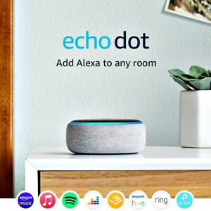 Amazon Echo Dot (3rd Gen) Smart Speaker with Alexa Heather Grey UK Plug Stock
