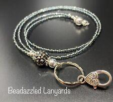 Beaded Lanyard Necklace,ID Pass Holder,Multi Item Lanyard, Clip & Split Ring, L1