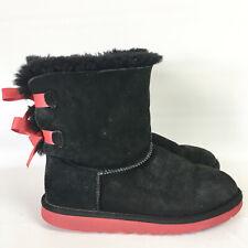 UGG Australia Bailey Bow Womens Boots Size 5 Black Suede Red Trim Short EU 35