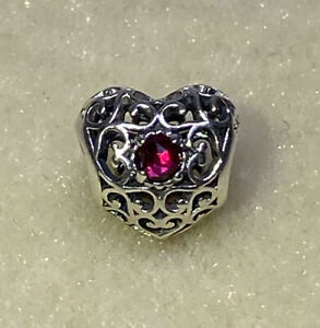 New Authentic Pandora JULY Signature Heart Red Rubies Charm 791784