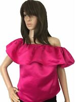 Women Top Silk Satin Relaxes Ruffle Off Shoulder Shiny Ruffle Shiny Pink Small