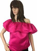 Women Top Silk Satin Relaxes Ruffle Off Shoulder Shiny Ruffle Shiny PinkSmall